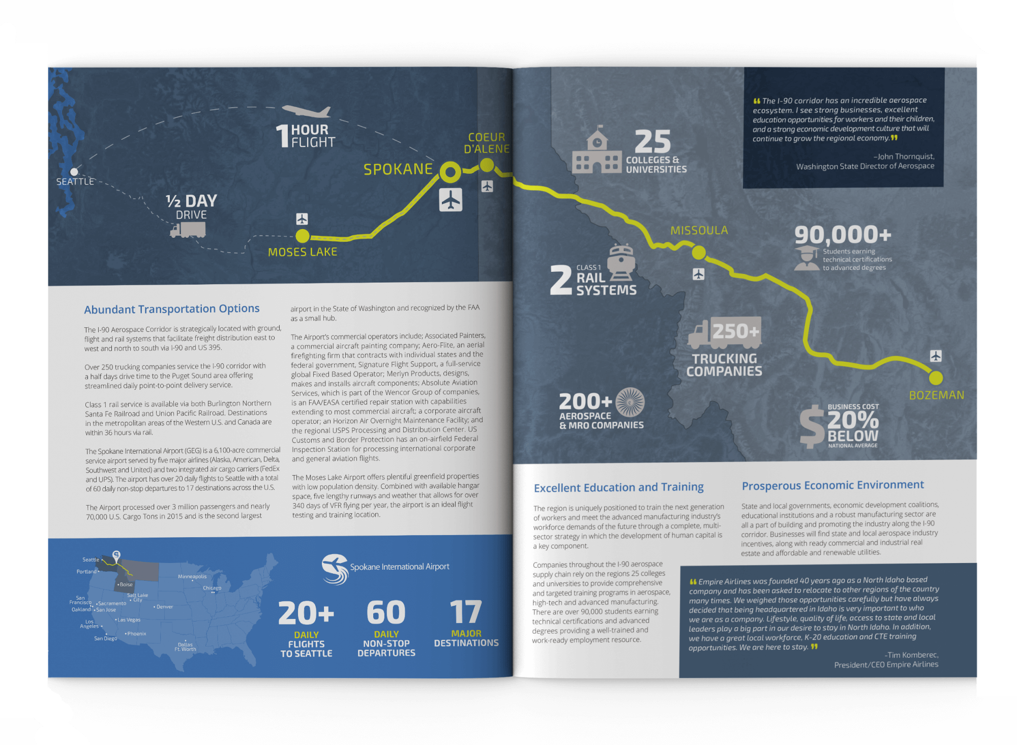 i90 magazine mockup showing transportation options to Spokane international airport