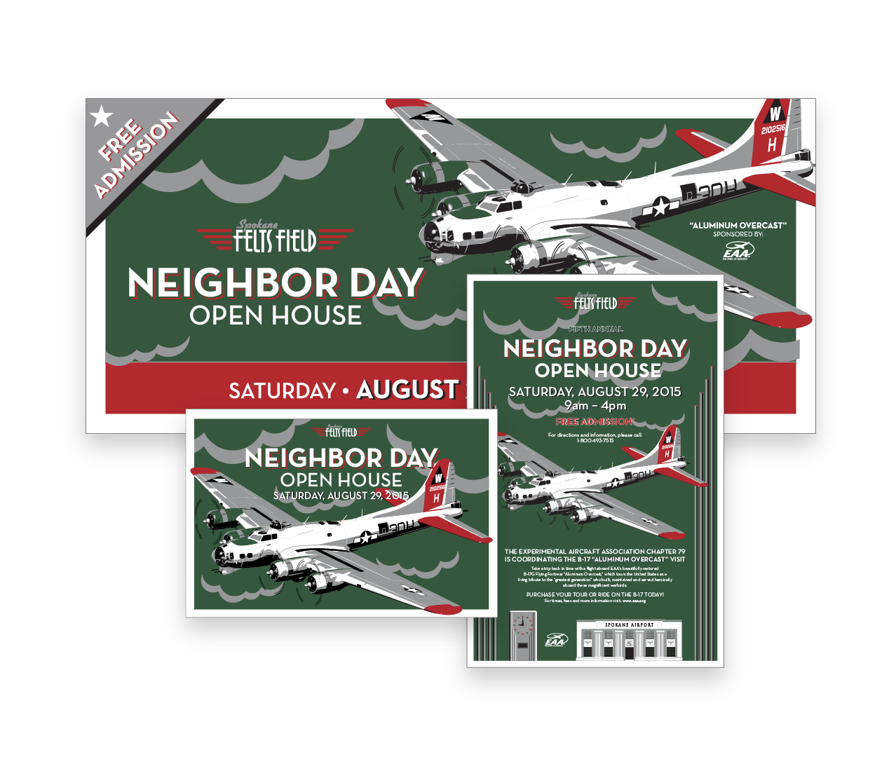 Felt Field Neighbor Day Art Deco Style Design Poster and Ad Mockups