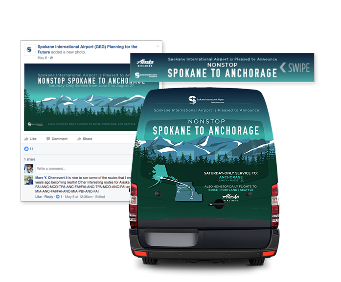 Spokane International Airport Alaska Airlines Bus Wrap, Digital Ads, and Paid Social
