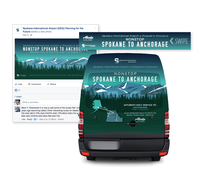 Spokane International Airport and Alaska Airlines creative marketing campaign example