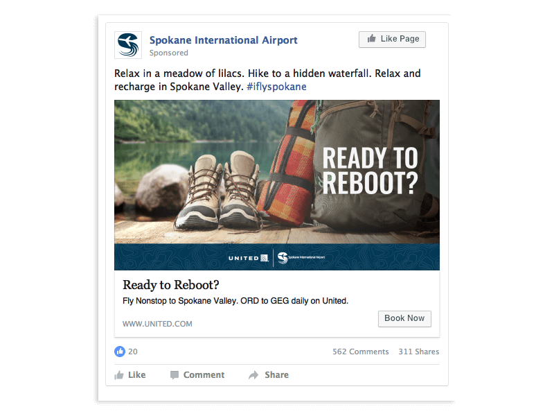 Spokane International Airport and United Airlines social media advertisements example