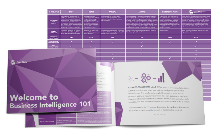 GoodData SaaS Buyer's Guide to target the first-time business intelligence SaaS buyer with targeted messaging