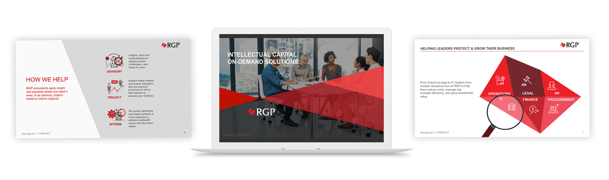 sales meeting deck to enable RGP's sales team for success. Included new messaging, corporate positioning, solutions overviews, buyer persona and vertical focused slides, and customer success stories.