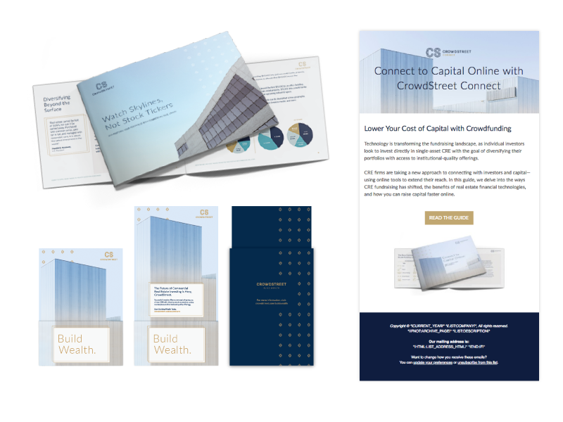 PMG collaborated with customer success, sales and marketing teams at CrowdStreet to better understand the challenges faced by CRE Sponsors. Working hand-in-hand with CrowdStreet's CMO, PMG designed a bespoke partner program to enable CrowdStreet's commercial real estate Sponsors for success.