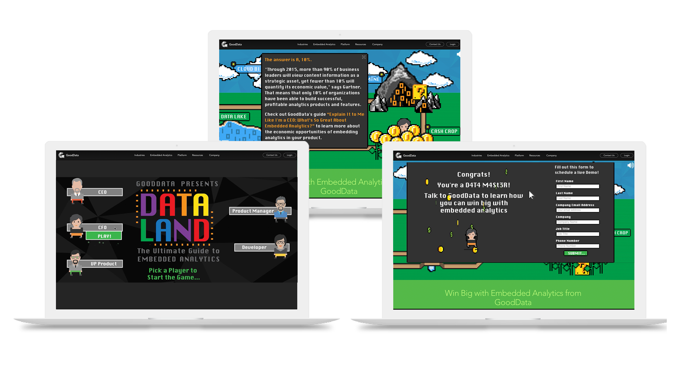 dataland experience gaming for data analytics customized around each of GoodData's defined buyer personas