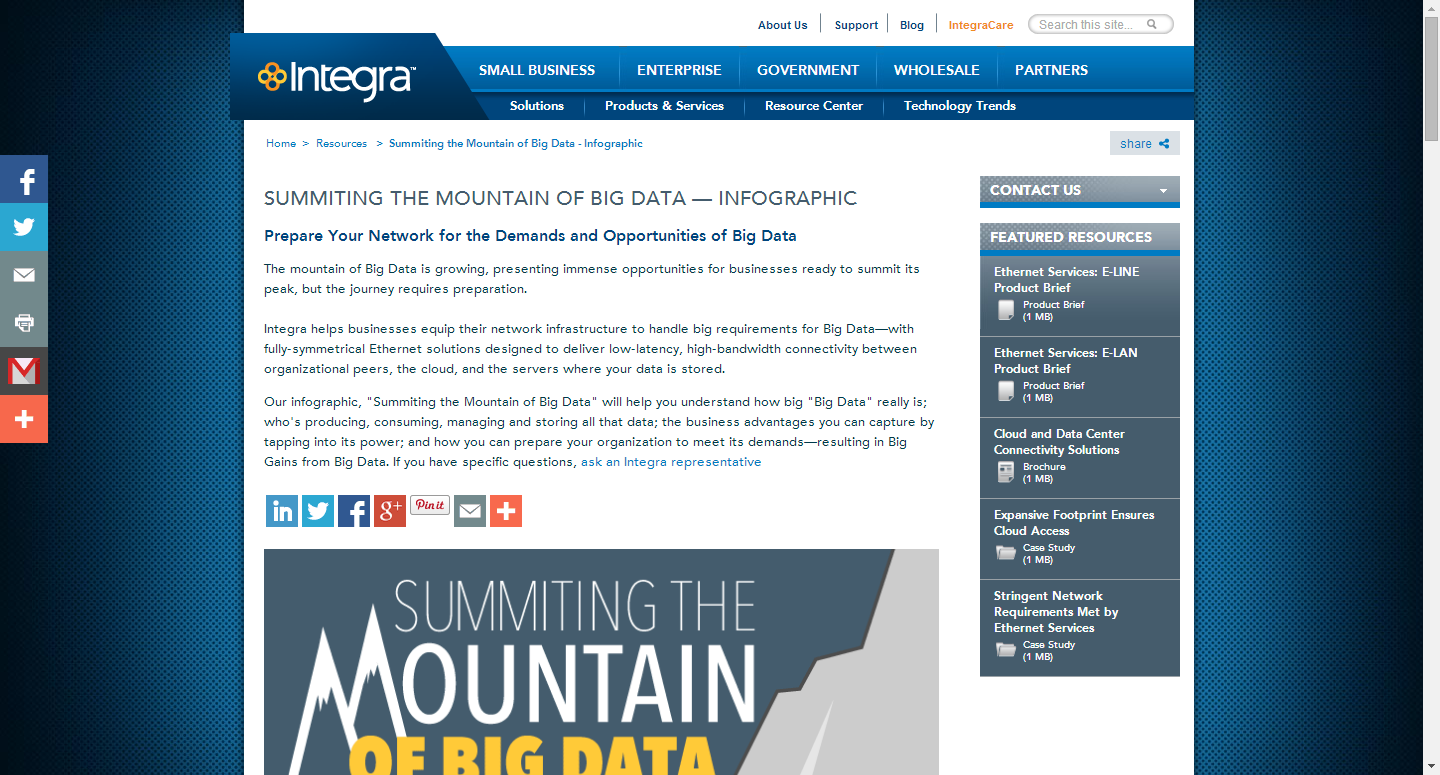 Big Data Infographic Landing Page Example about summiting big data