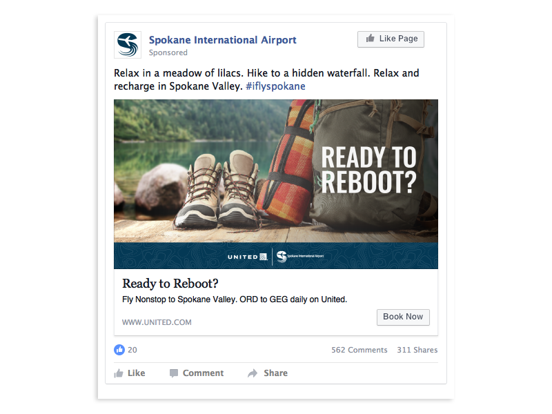 Spokane Reboot United Digital Campaign example with creative messaging and outdoor hiking recreation inspiration