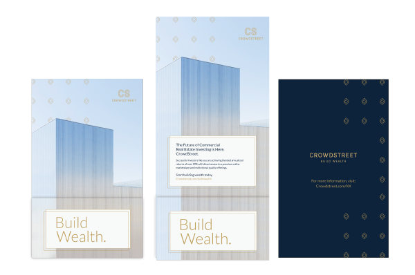 End-to-end digital and social distribution strategy of a direct mailer for the commercial real estate crowdfunding platform's brand relaunch campaign.