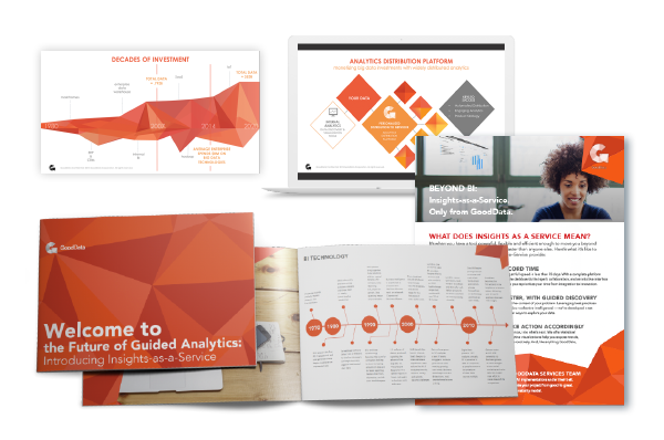 print, presentation and sales collateral examples for GoodData orange geometric shapes