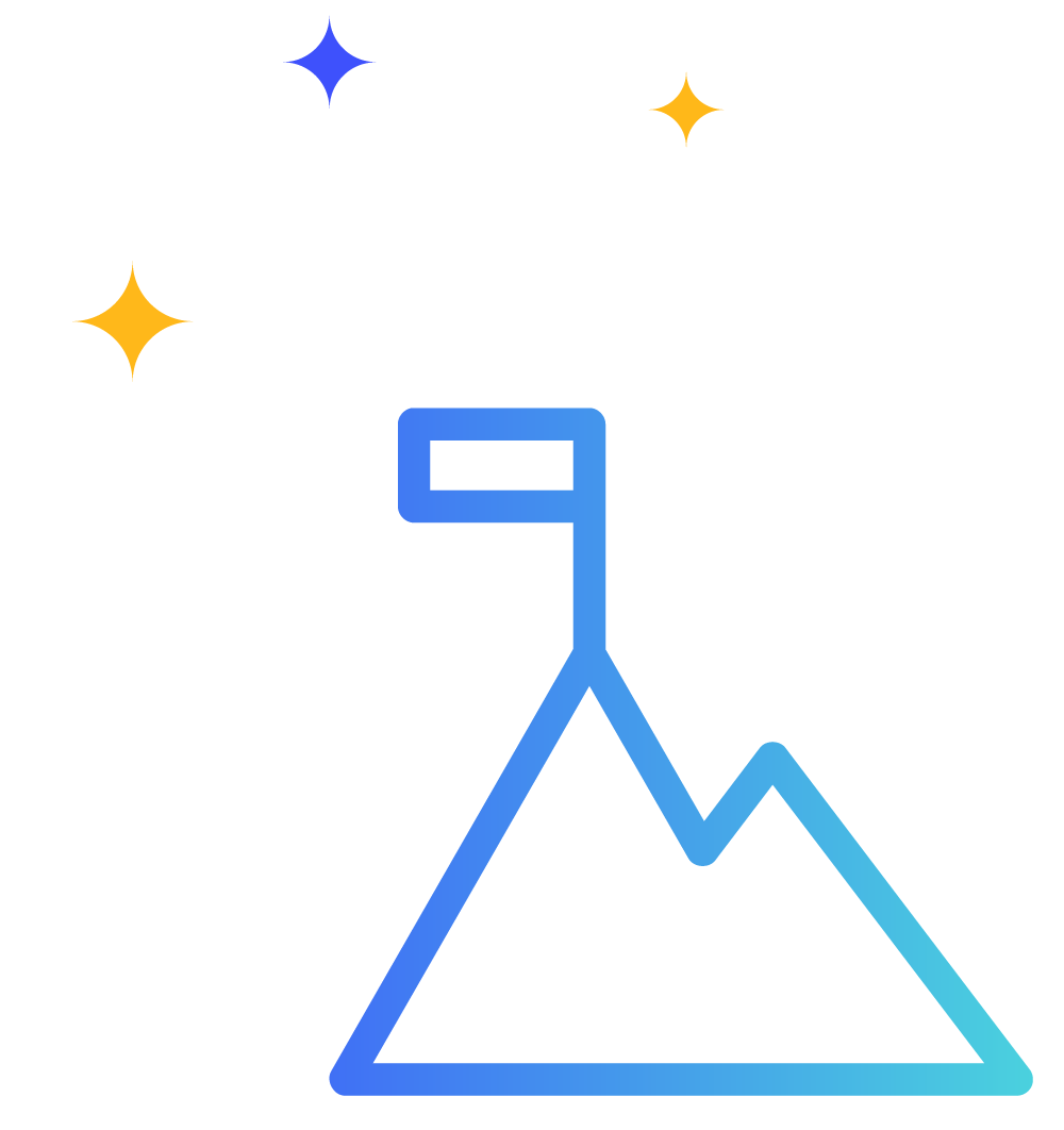 Graphic of a mountain and a flag with shimmering stars above
