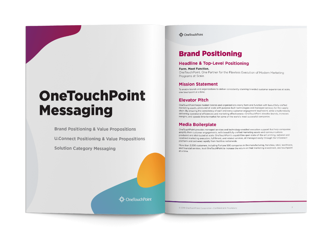 OneTouchPoint brand messaging by PMG