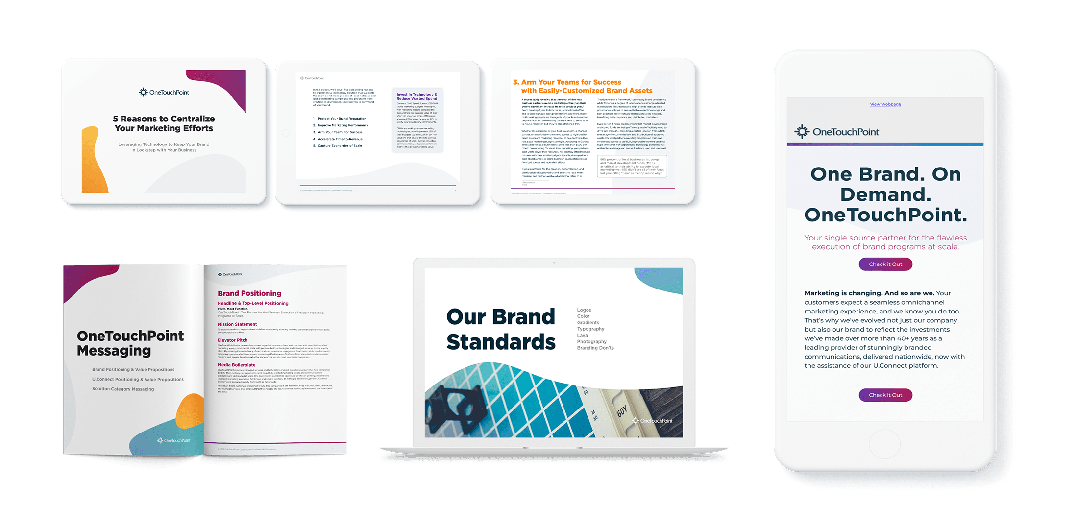 OneTouchPoint branding assets collage by PMG